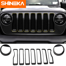 SHINEKA Lamp Hoods ABS Car Exterior Front Headlight And Grille Decoration Trim Cover Stickers For Jeep Wrangler JL 2018+