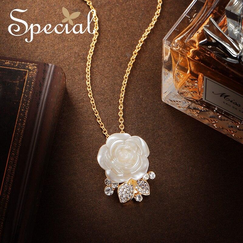 Mode spéciale Rose colliers et pendentifs fleur Maxi collier mariage Multi Usage pendentifs or bijoux cadeaux pour femmes S1784N
