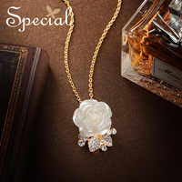 Special Fashion Rose Necklaces & Pendants Flower Maxi Necklace Wedding Multi Usage Pendants Gold Jewelry Gifts for Women S1784N