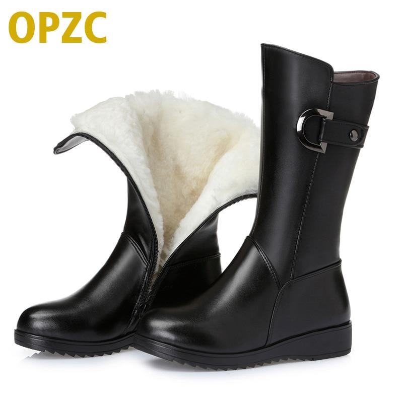 Botas para la nieve de piel genuina de invierno 2019. Con botas de moto mujer de lana plana y cálida. botas de mujer de gran tamaño 35-43