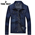 TANGNEST Men Denim Jacket Plus Velvet Hot Sale Turn-down Collar Single Breasted Jacket Men Fashion Thick Jackets MWJ2166