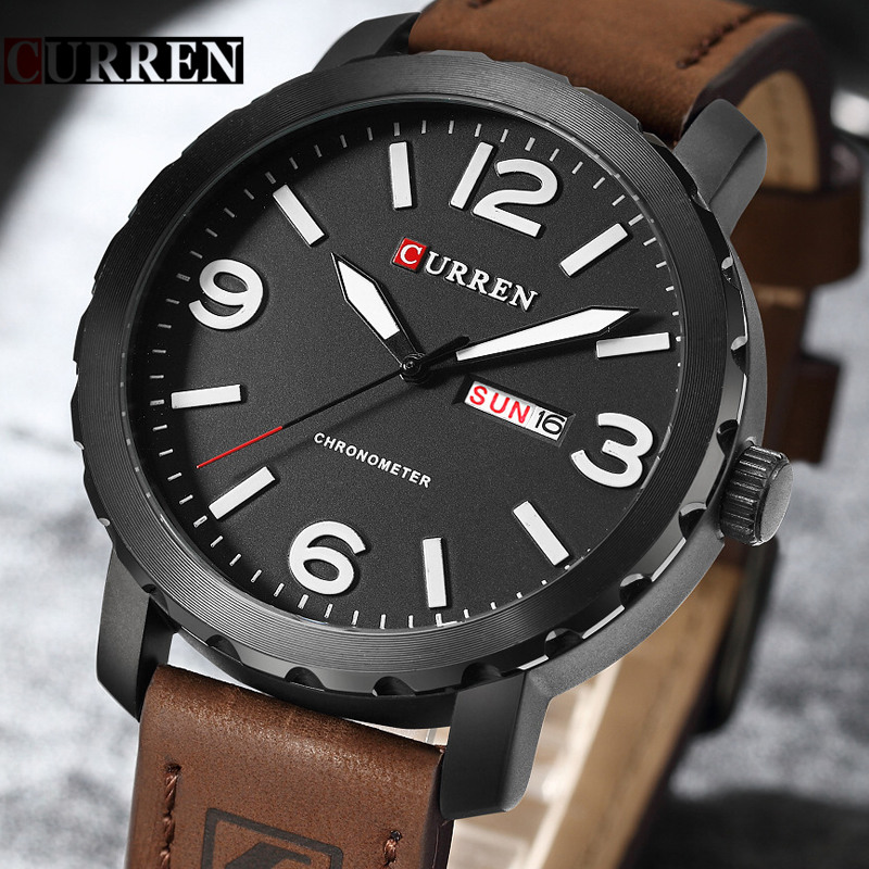 New Curren Watches Mens Brand Luxury Leather Strap Quartz Watch Men Fashion Casual Sport Clock Male Wristwatch Relogio Masculino oulm brand men s fashion casual sport watches men big dial quartz watch leather male fashion wristwatch clock relogio masculino