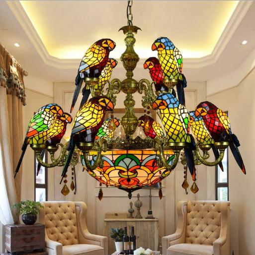 Image 4 - American Pastoral Tiffany Style Retro Luxury Parrot Bird Pendant Light Stained Glass Bar Living Room Parlor Hanging Lighting-in Pendant Lights from Lights & Lighting