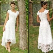 vestido de renda White Tea Length High Low Lace 2016 Wedding Dresses Cap Sleeves Modest Gowns Elegant Bridal