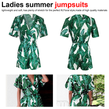 Sexy Rompers Women Jumpsuit Summer Leaves Printing Short Sleeve V Neck Overalls Female