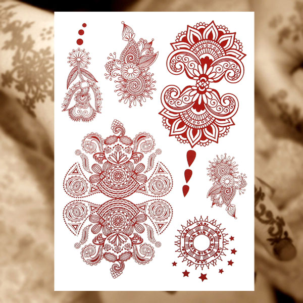 Henna Art Fishes Flowers Tattoo Indian Wedding Party Women Tattoos Brownish Red Hand Decoration Temporary