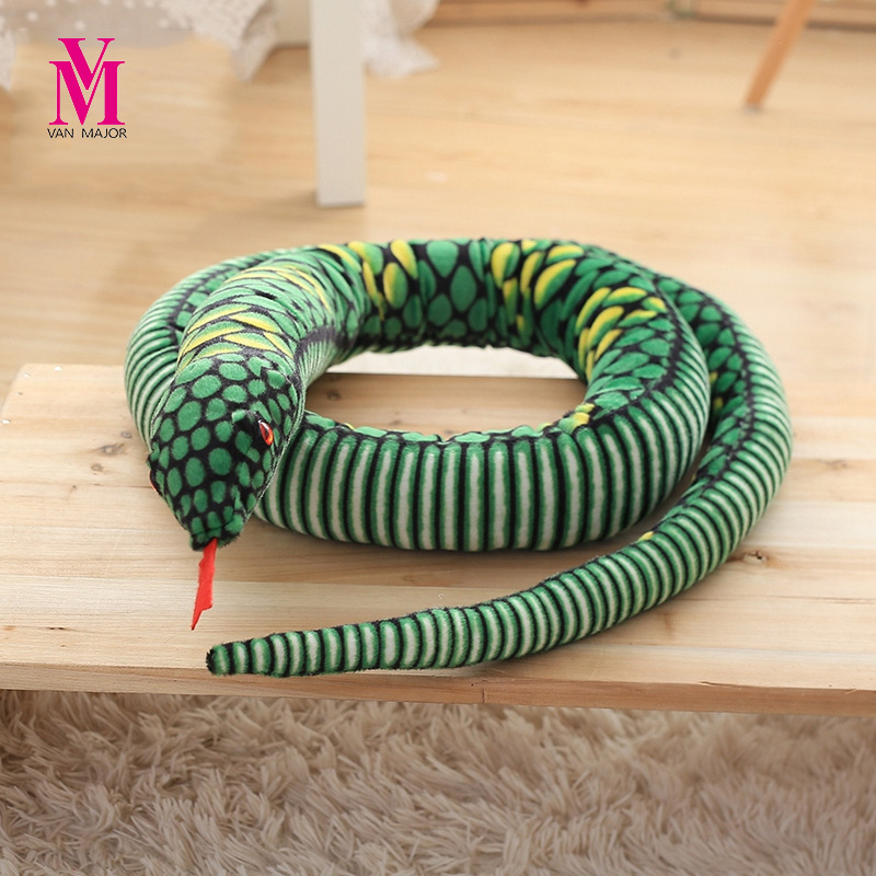 все цены на Simulation Snake Plush Toys False Soft Snake Whole People Spoof Scary Props Oversized Horror Doll Dolls