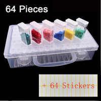 Nuevo plástico diamante pintura accesorios 64 Uds botellas contenedor caja de almacenamiento Diamant pintura titular Daimond pintura caja