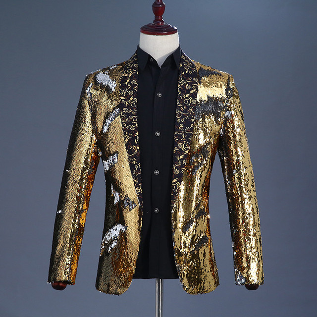 bbb3599dc Gold and Silver Men Sequin Stage Jacket Color-changing Exclusive Mens Sequin  Jacket Purple Men s Blazer Homme Prom Sequin Suit