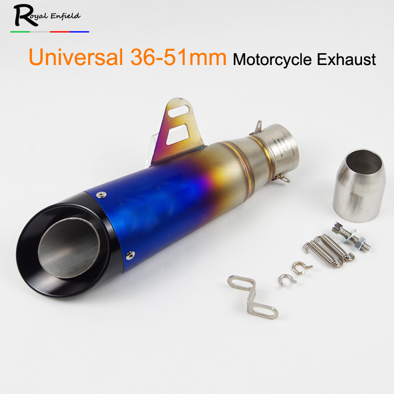 Motorcycle 36-51MM Exhaust Pipe Escape Modified Laser Muffler Moto Exhaust For HONDA CBR500 NC700 color half blue