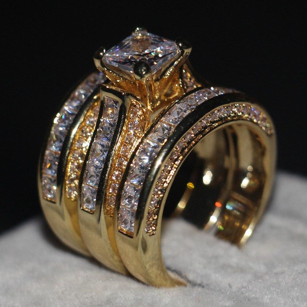 Promotion Femmes Hommes Bijoux de Mariage 3-en-1 anneau 14KT Jaune Or Rempli Princesse cut 5A Zircon Cz Engagement Band Anneau