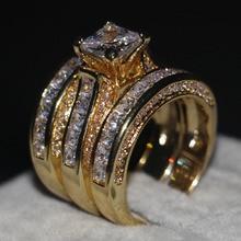 Продвижение Женщины Мужчины Ювелирные Изделия 3-в-1 Обручальное кольцо 14KT Желтое Золото Заполнено принцесса 5А Циркон Cz Обручальное Кольцо Диапазона