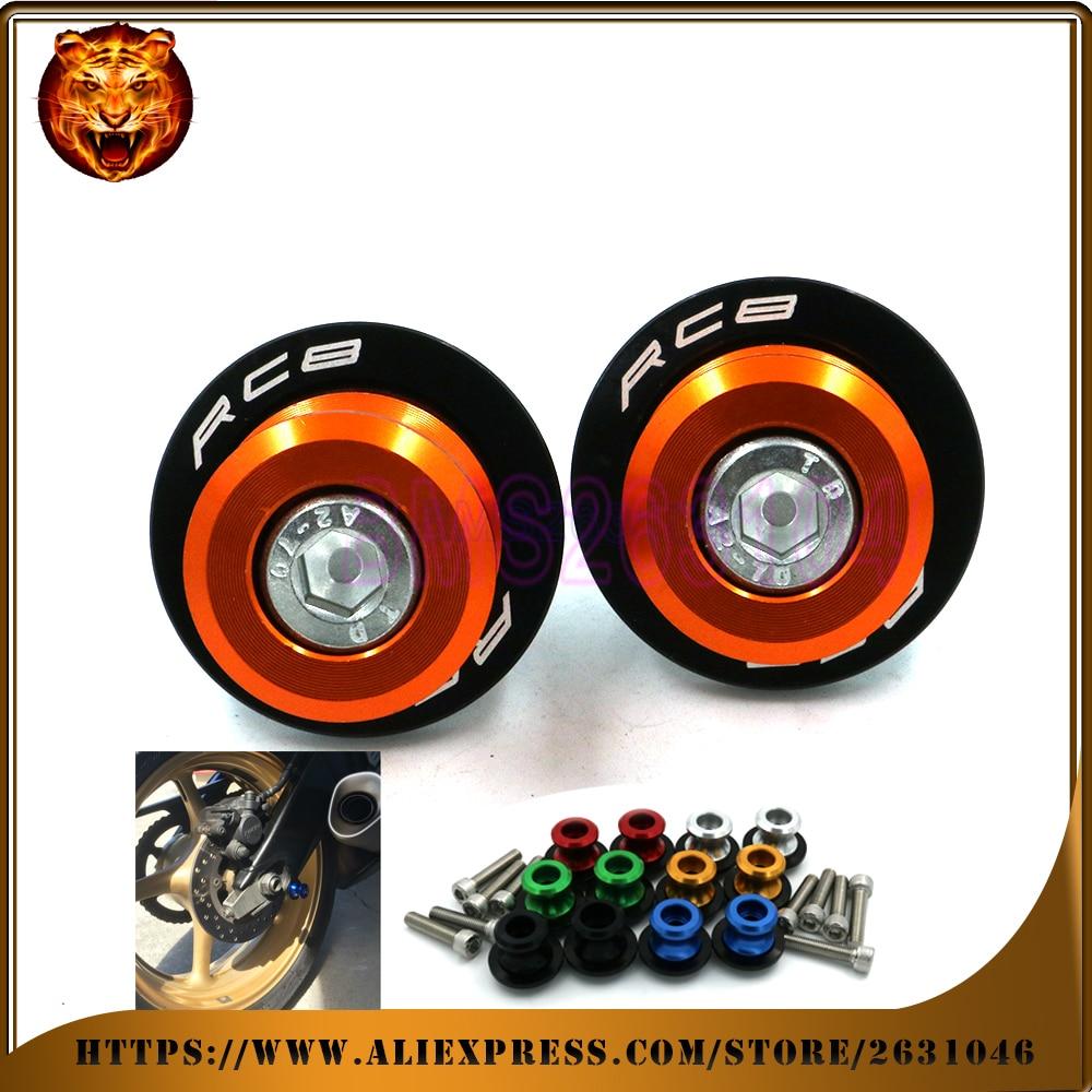medium resolution of motorcycle aluminum swingarm spools slider stand screw 0 315inch m8 for ktm rc8 rc 1190 rc8r with logo accessories cnc orange