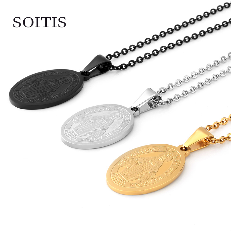 Soitis catholic virgin mary christian oval religion cross medallion soitis catholic virgin mary christian oval religion cross medallion pendants church necklace gold black sliver color in pendant necklaces from jewelry aloadofball Choice Image
