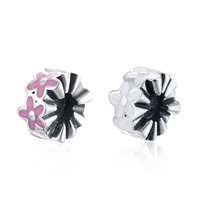 Soft Pink & White Enamel Cherry Blossoms Spacer Charm Fits Pandora DIY Bracelets Anthentic 925 Silver Beads for Jewelry Making.