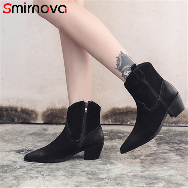 Smirnova ankle boots autumn TOP FASHION 2018 popular ladies genuine leather boots pointed toe boots for woman zipper shoes black цена 2017