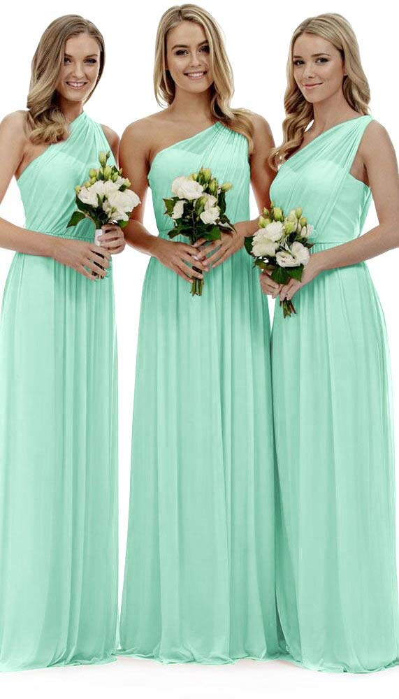 TPSAADE Women's One Shoulder Chiffon Bridesmaid Dress Floor Length Pleated Long Wedding Prom Gowns