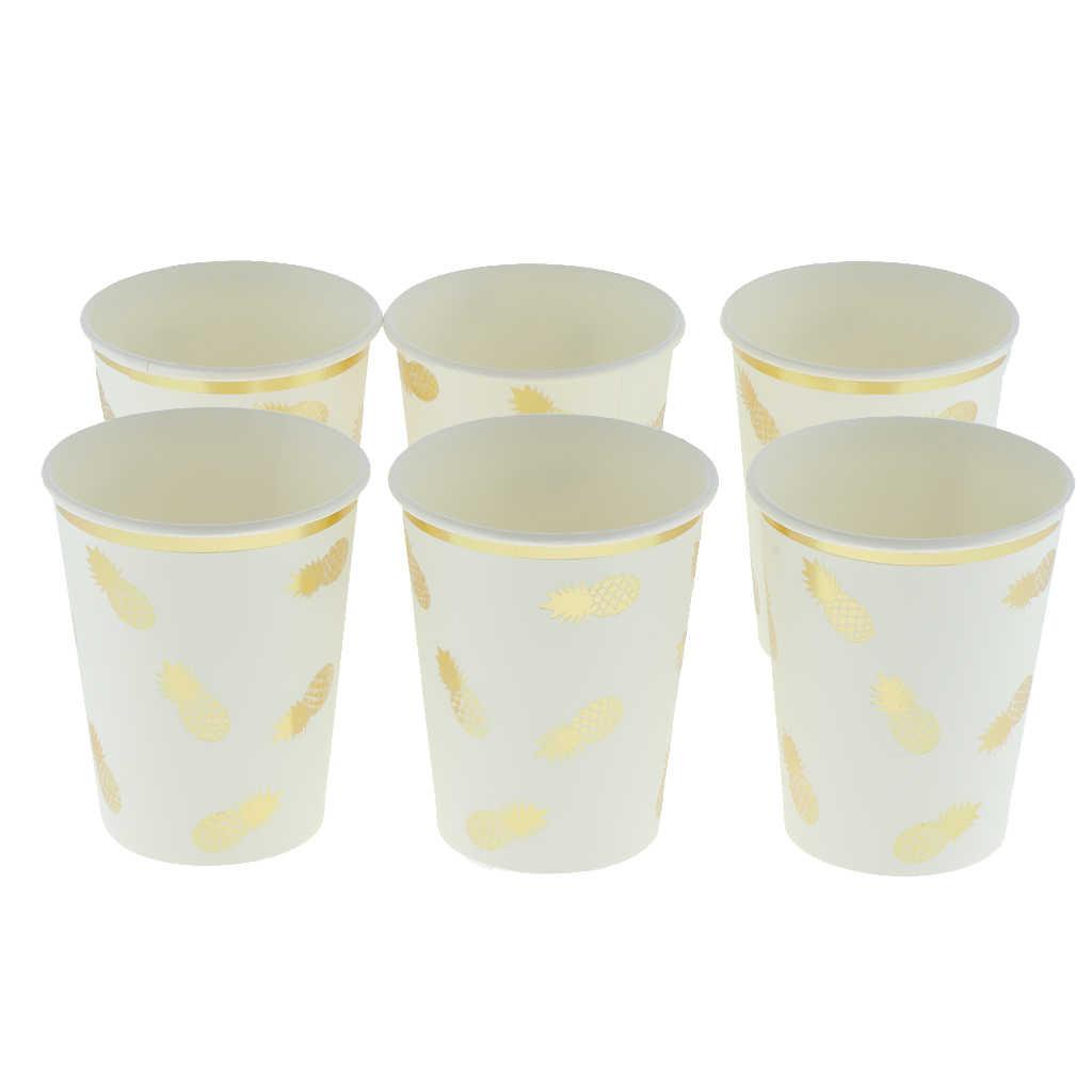 6 шт. ананасовые блестящие одноразовые бумажные стаканчики сувенир для свадебной вечеринки красочная посуда детский душ фестиваль детские товары для дня рождения