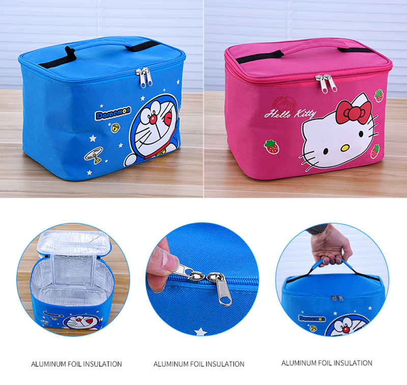 Hello Kitty Deraemon Cartoon Food Container Thermos Children School Picnic Portable Bento Lunch Boxes Rectangle Plastic Stainless Steel 18
