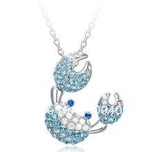 Fashion Women Austrian Crystal Jewelry Blue Zirconia Silver Pendant 925 Crab White Gold Wedding Jewelry  New Arrival