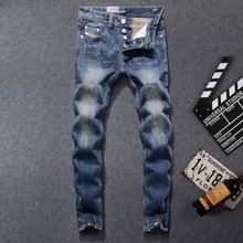 New Arrival Fashion Dsel Brand Men Jeans Blue Color Washed Printed Jeans For Men Casual Pants Italian Designer Jeans Men,9003-B dsel brand new men jeans straight fashion jeans cotton solid color wild men of good quality jeans casual pants free shipping