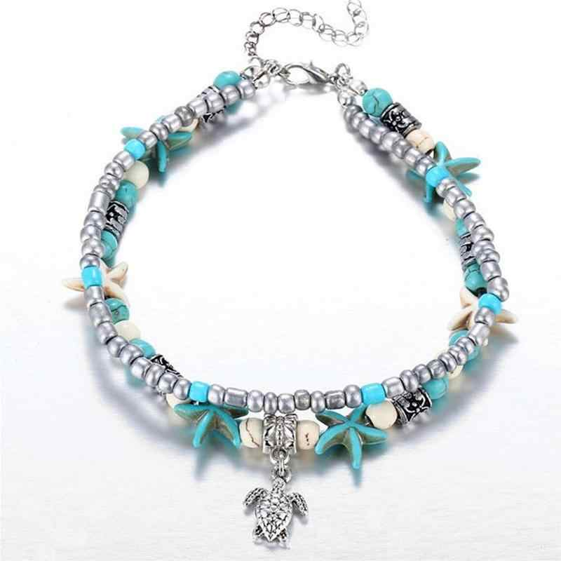 Summer Sea Turtle Starfish Beads Bracelets For Women Natural Blue Ocean Stone Yoga Bracelet Girl's Gift Bohemia Beach Jewelry