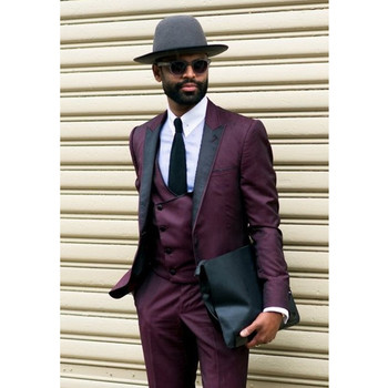 Custom Made Burgundy Formal Men Suit Casual Style Groom Tuxedo 3 Pieces Wedding Suits For Men Blazer (Jacket+Pants+Vest)G565