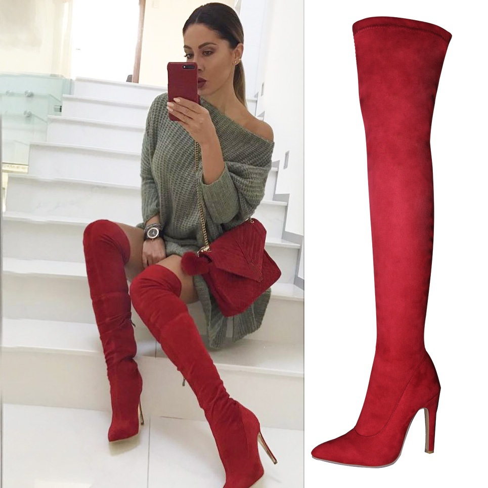 LELE Women Boots High Heels Knee High Boots Suede Thigh High Over The Knee Red Black Gray Brown Boot Ladies shoes Plus Size 43