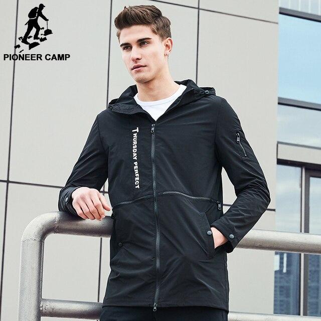 Pioneer Camp New Spring fashion brand jacket men windbreaker hoodie coat male top quality casual outwear for men AJK707003