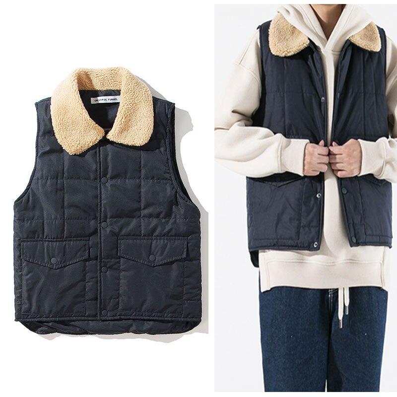 Black Button Sherpa Linen Collar Men Vest Winter Warm Wear