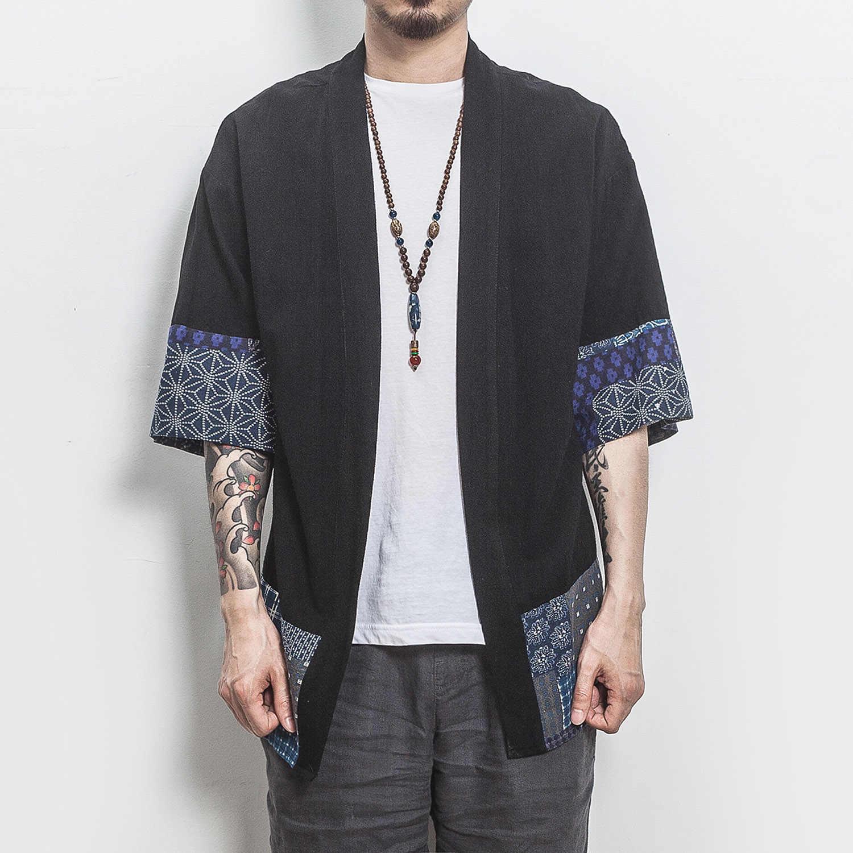 Прямая доставка хлопок льняная рубашка куртки мужские китайские уличные кимоно рубашка пальто мужские льняные кардиганы куртки пальто плюс размер 5XL