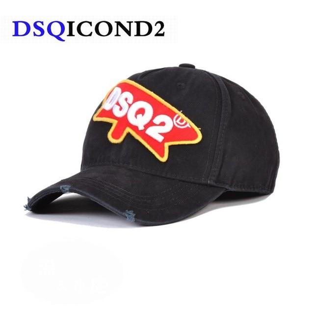 debdd89b62575 US $9.39 46% OFF|DSQICOND2 2019New Baseball Caps Men Women DSQ ICON Summer  Black Snapback Hat Hip Hop Fitted Cap Adjustable Bone Casquette gorras-in  ...