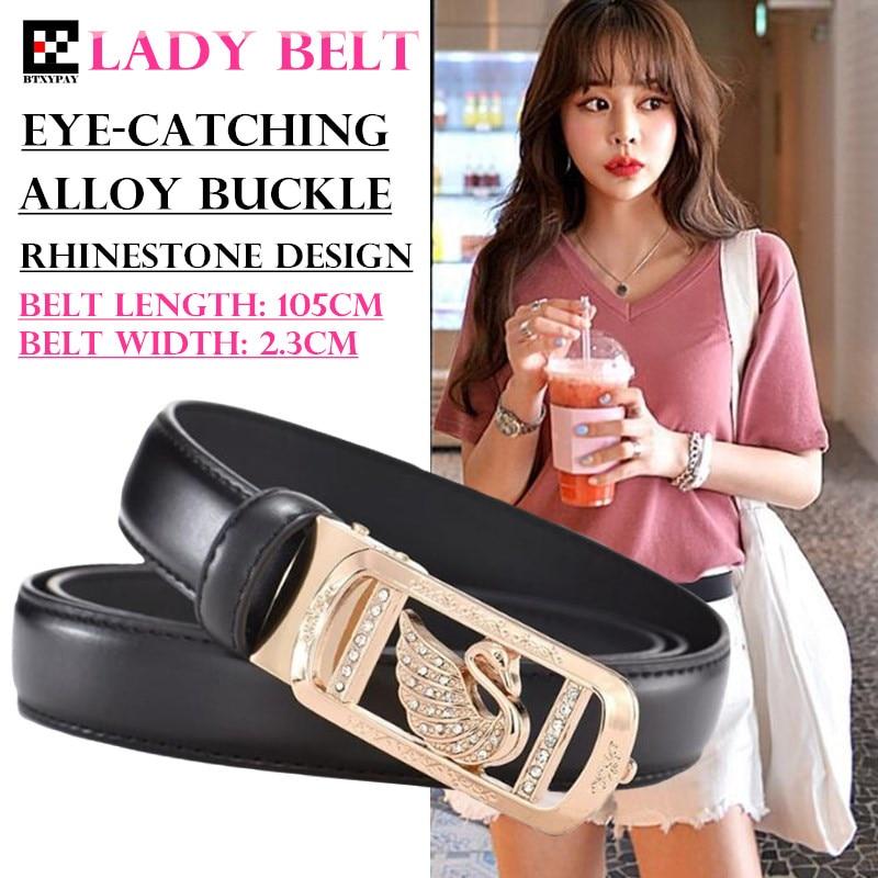 200pcs High Quality 23mm Second Layer Cowhide Women Belt Lady Pin Hole Leather Waist Belt Swan Rhinestone Alloy Buckle Waistband
