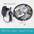 SMD 5050 RGB LED Strip Light Silicon Waterproof 300 LEDs 5M Flexible Tape Kit +IR Remote Controller+DC12V Power Supply Adapter