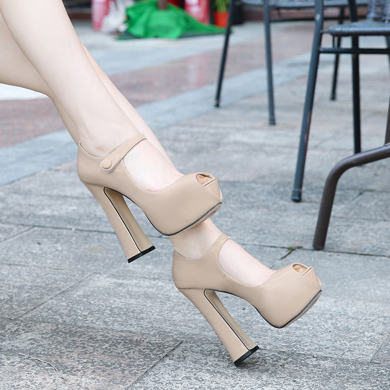 MAIERNISI Pumps Female Shoes Fish Mouth Platform Women Pump Solid High Heels 14cm Shoes Pumps Sexy Shallow Single Ladies Shoes
