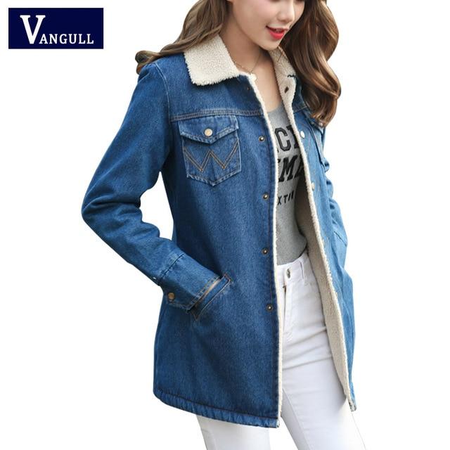 dab317040f07a3 Warm Frauen Jeans Mantel Winter Jacken Marke Verdicken Denim Outwear 2017  Weibliche Grundlegende Straße Casual Lamb