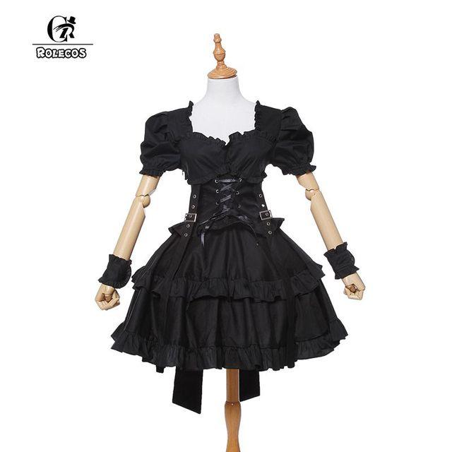 344624a029 ROLECOS New Cotton Women Short Sleeve Black Victorian Corset Gothic Lolita  Dress Ball Gown Customized Dresses