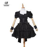 ROLECOS New Cotton Women Short Sleeve Black Victorian Corset Gothic Lolita Dress Ball Gown Customized Dresses