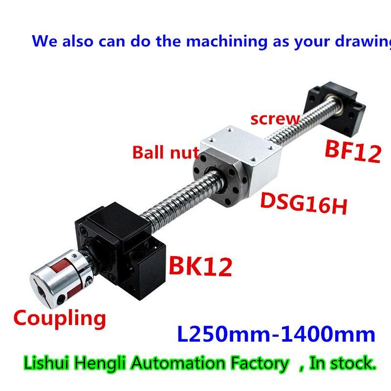 L250mm 1400mm SFU1605 Antibacklash Ball Screw BK12 BF12 D25L30 6 35x10mm Coupler Set