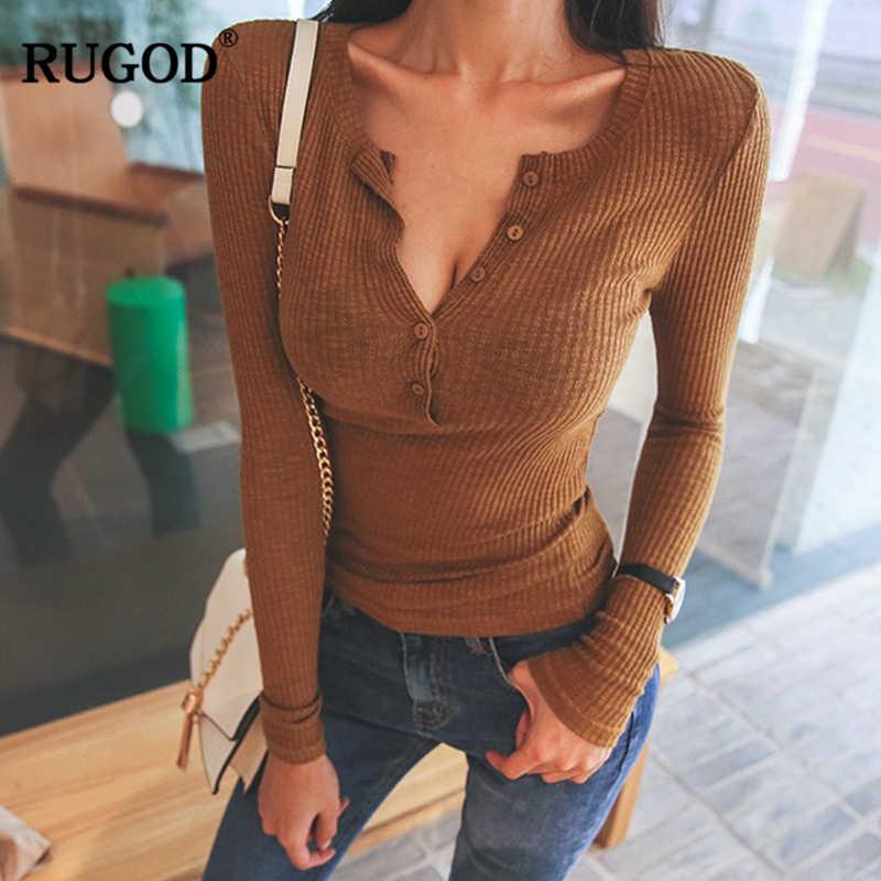 RUGOD повседневные тонкие вязаные топы, тонкий свитер, женский сексуальный свитер с пуговицами, v-образный вырез, длинный рукав, базовые Топы, Высокоэластичный пуловер, Sueter Mujer