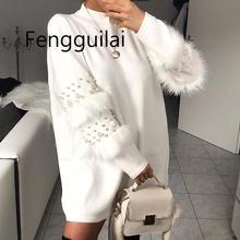 купить!  Пуловер женский & # 39s джемпер жемчужный свитер мех кролика женский джемпер женский теплые свитера