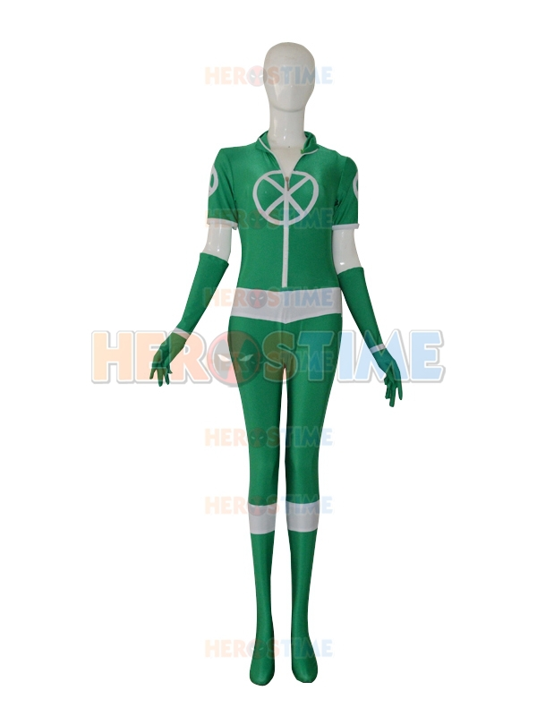 New Style Custom Green X-men Rogue Superhero Costume halloween cosplay party zentai suit The most popular free shipping