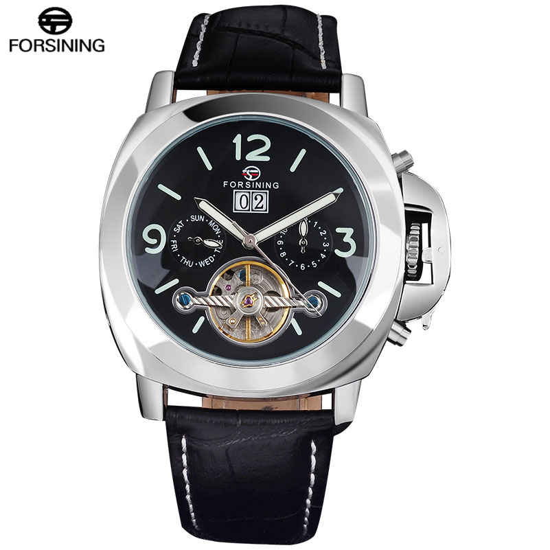 FORSINING Classic Fashion Mens Watches Tourbillion Genuine Leather Top Brand Luxury Automatic Mechanical Men Watch mens mechanical watches top brand luxury watch fashion design black golden watches leather strap skeleton watch with gift box