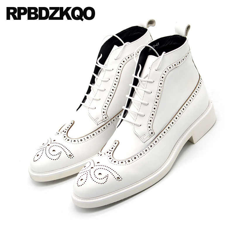 b2c93cf3f6 ... Mens Pointed Toe Dress Boots Booties Brogue Oxford Chunky Full Grain  Leather White Plus Size Formal ...
