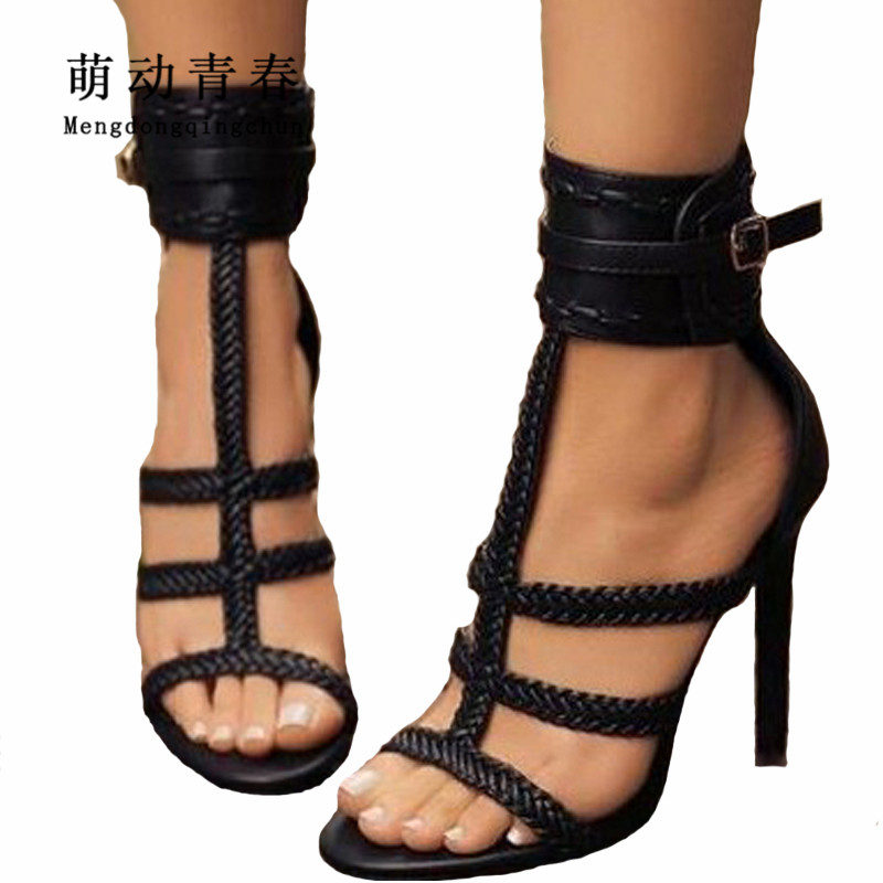 Fashion Women Pumps Gladiator Peep Toe Women High Heels Shoes Women Thin Heel Buckle Strap Summer High Heel Pumps Plus Size 43