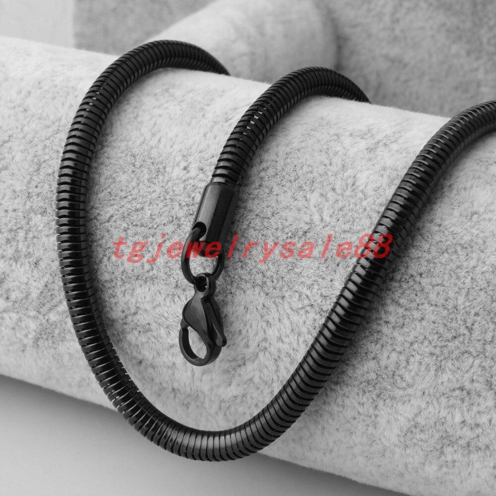 4.2mm de largura clássico cor preta aço inoxidável cobra espinha de peixe corrente colar gargantilha charme feminino pescoço chique jóias