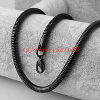 4.2mm Wide Classic Black Color Stainless Steel Snake Herringbone Chain Necklace Choker Charm Women Men Neck Chic Jewelry