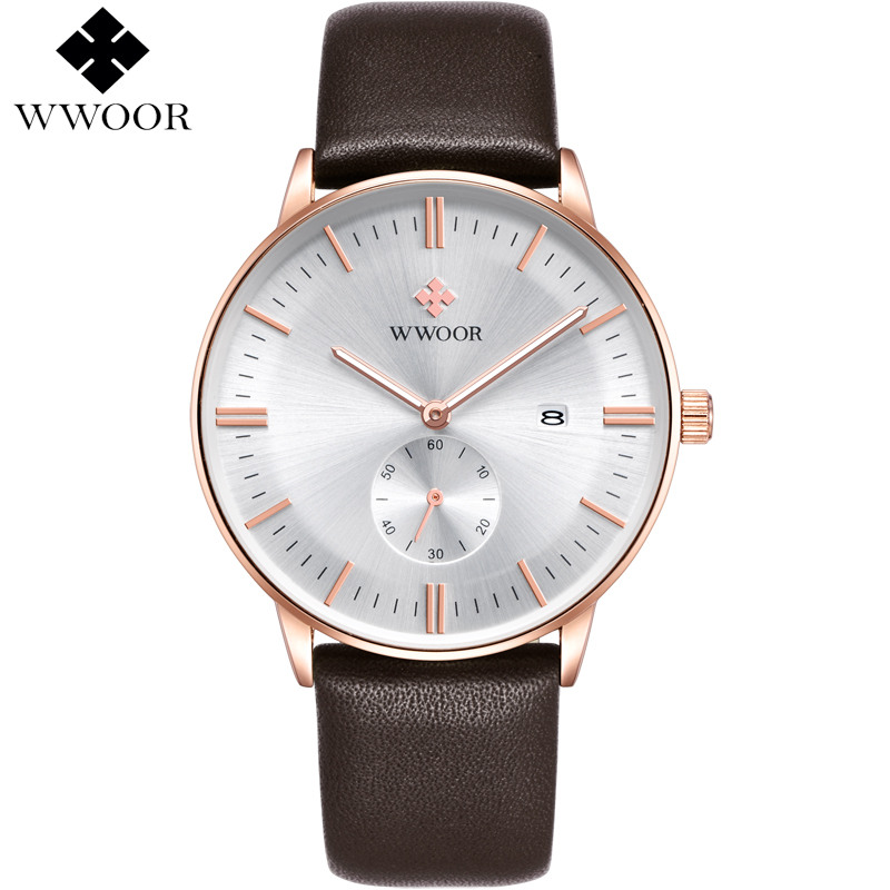 Men Watches Top Brand Luxury Work Sub-dial Leather Casual Wristwatch Rose Gold Quartz Watch Men's Sports Watch Male WWOOR Clock
