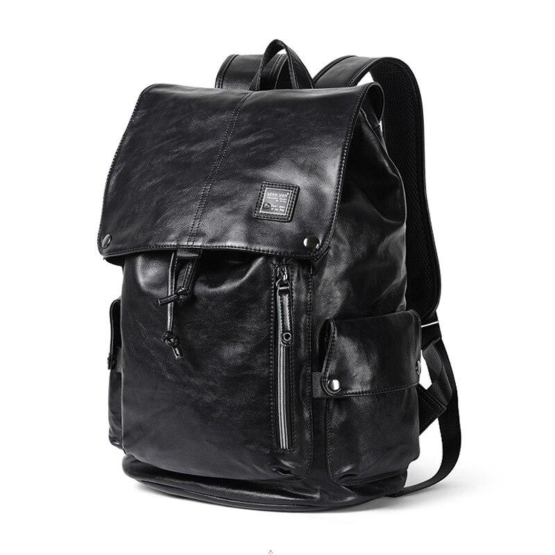 Luxury Leather Brand Crazy Horse Men Backpack Vintage Solid School Bag Black Casual Big Man Laptop