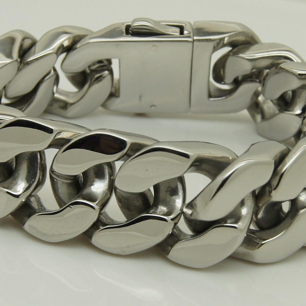 punk 2.0cm cool heavy  men/boy's stainless steel  chain bracelet buckle 1 men jewelry bracelets bangles